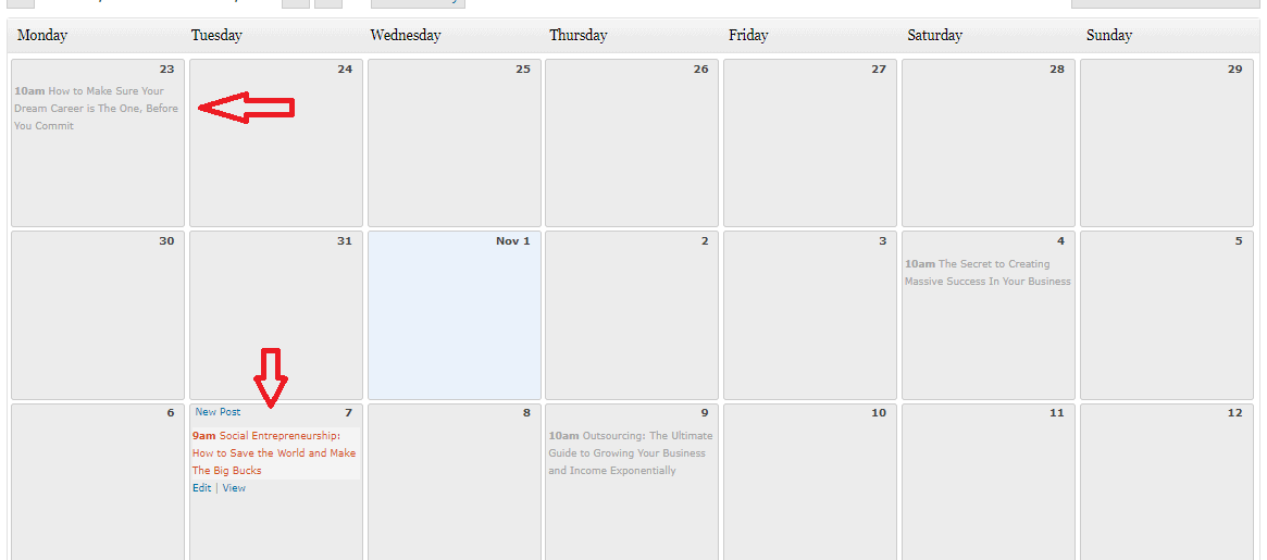 Editorial Blogging Calendar